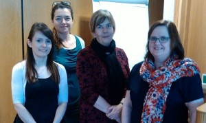 Photograph of BSGNI committee members. From left: Mabel Stevenson, Lynn Johnston, Paula Devine and Gemma Carney
