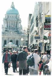 Photograph of people walking down Donegall Place, Belfast